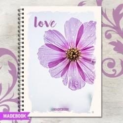 Zošit špirálový A4 linajkový – LOVE FLOWER LOVE
