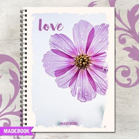 Zošit špirálový A4 čistý  – LOVE FLOWER LOVE
