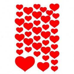 Etikety Decor malé červené srdcia