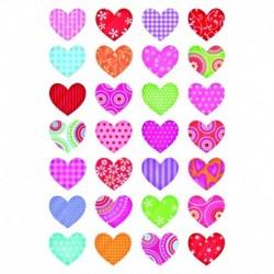 Etikety Decor pestrofarebné srdcia