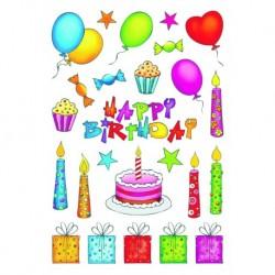 Etikety Decor Happy birthday, gliter
