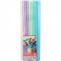 Krepový papier jemný 32g 50cm x 200cm 10 roliek mix 5 farieb pastelové