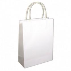 Papierová taška s uškom biela – sada 12 ks.