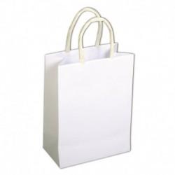Papierová taška s uškom, biela – sada 12 ks.