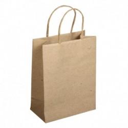 Papierová taška s uškom, natur – sada 12 ks.