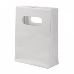 Papierová taška s uškami, biela – sada 12 ks.
