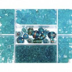 Sklenené korálky – box, Indian turquoise