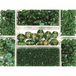 Sklenené korálky – box, emerald