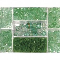 Sklenené korálky – box, jade