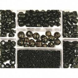 Sklenené korálky – box, black