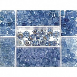 Sklenené korálky – box, aquamarine