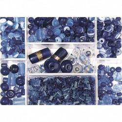 Sklenené korálky – box, saphire
