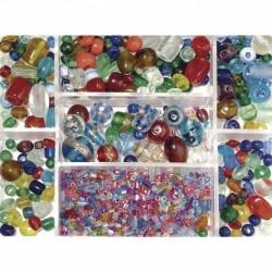 Sklenené korálky – box, mix farieb