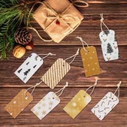 Vianočné etikety 8 kusov - zlatočierne