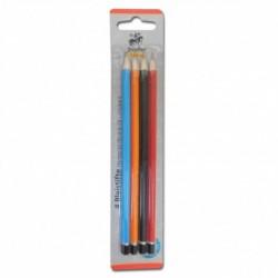 Ceruzky HB-H-B-B2, 4 ks farebné lakované